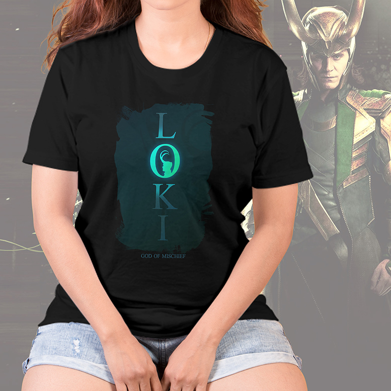 Camiseta Feminina Unissex Loki The God Of Mischief O Deus Da Travessura Marvel Disney+ (Preta) - EV