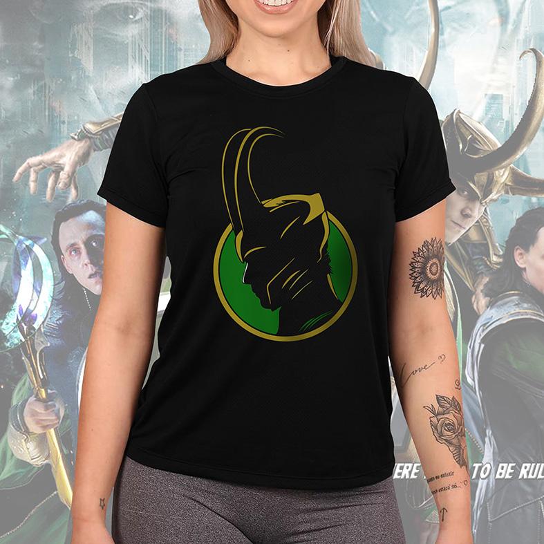 Camiseta Feminina Unissex Loki Villain Marvel Studios Avengers Vingadores Disney+ (Preta) - EV