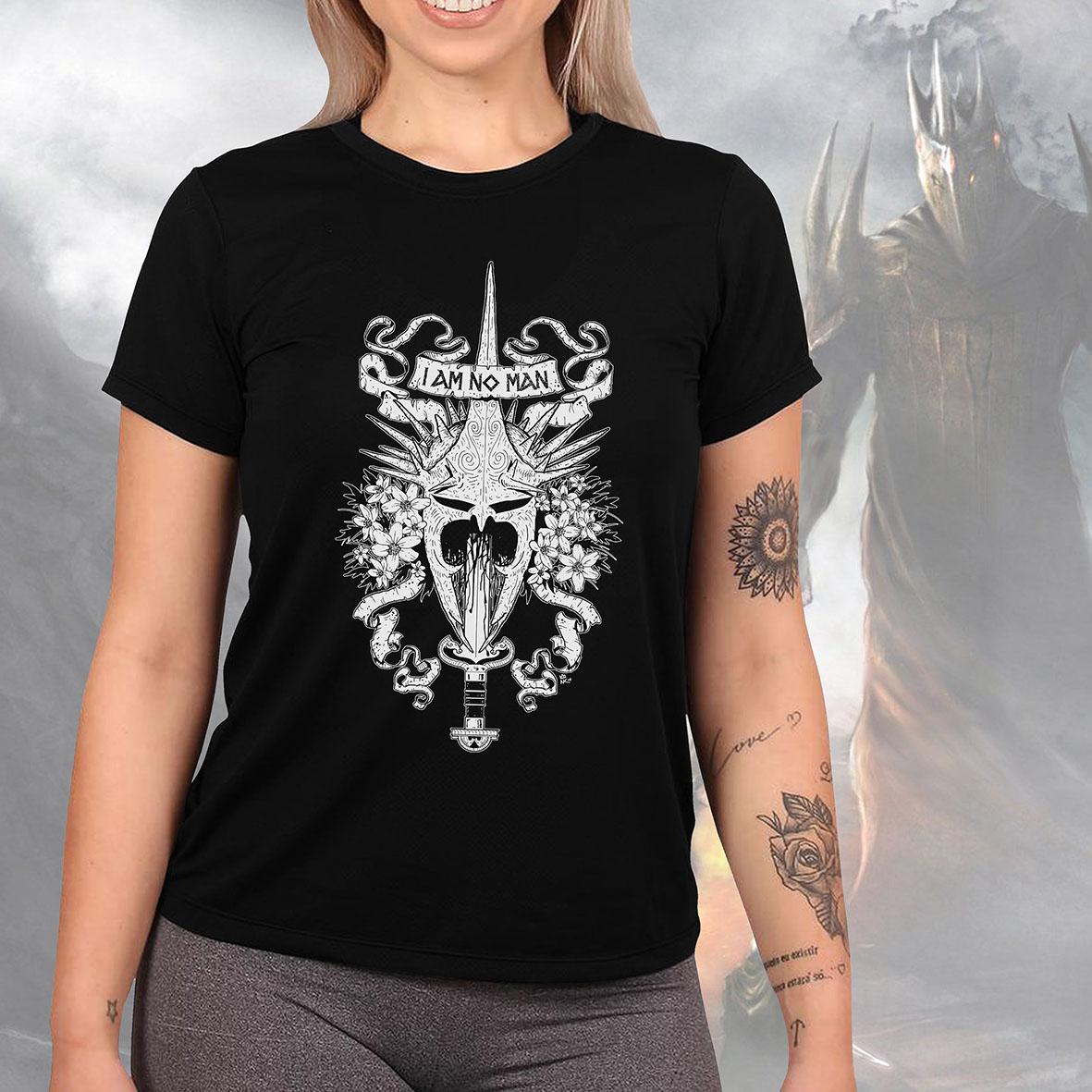 Camiseta Feminina Unissex Lord Of The Rings I Am No Man O Senhor Dos Anéis Anél Do Poder (Preta) - EV