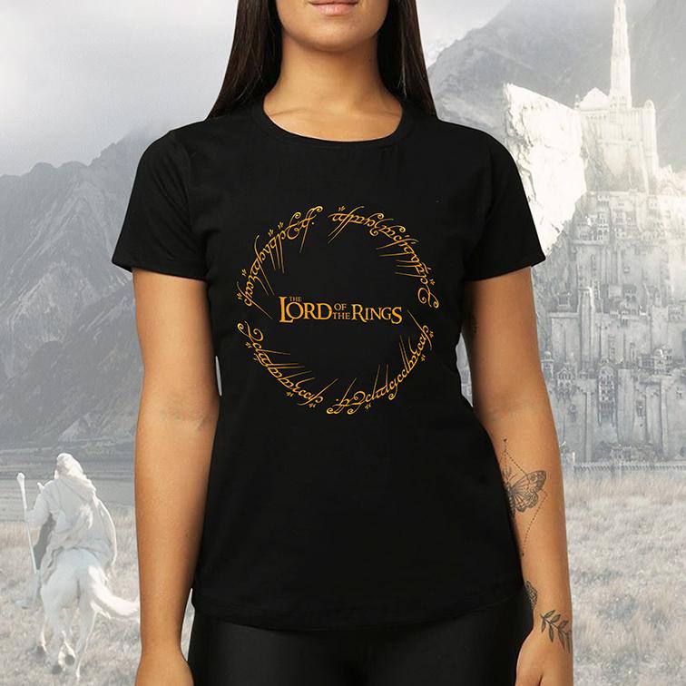 Camiseta Feminina Unissex Lord Of The Rings O Senhor Dos Anéis Anél De Sauron (Preta) - EV