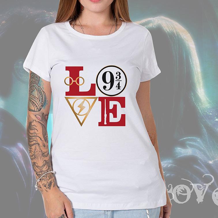 Camiseta Feminina Unissex Love: Harry Potter (Branca) - EV