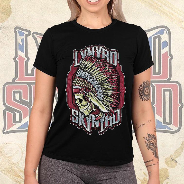 Camiseta Feminina Unissex Lynyrd Skynyrd American Rock Band Skull (Preta) - EV