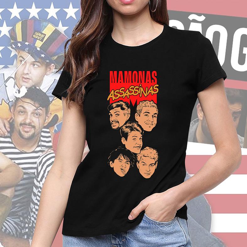 Camiseta Feminina Unissex Mamonas Assassinas Sérgio Júlio Dinho Bento Samuel Comics (Preta) - EV