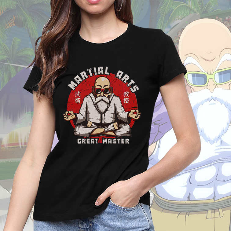 Camiseta Feminina Unissex Martial Arts Great Master Mestre Kami: Dragon Ball (Preta) - EV