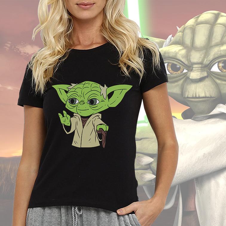 Camiseta Feminina Unissex Master Yoda Mestre Yoda: Star Wars (Preta) - EV