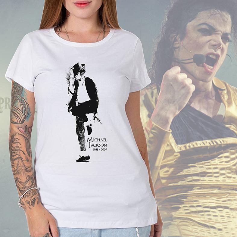 Camiseta Feminina Unissex Michael Jackson 1958-2009 (Branca) - EV