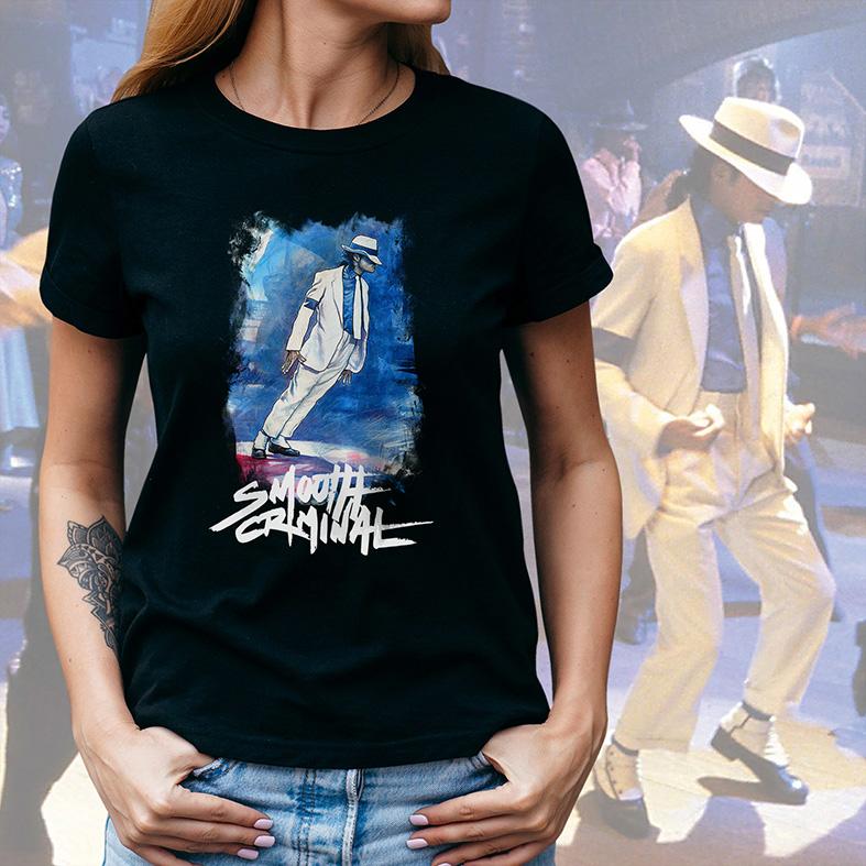 Camiseta Feminina Unissex Michael Jackson Smooth Criminal (Preta) - EV