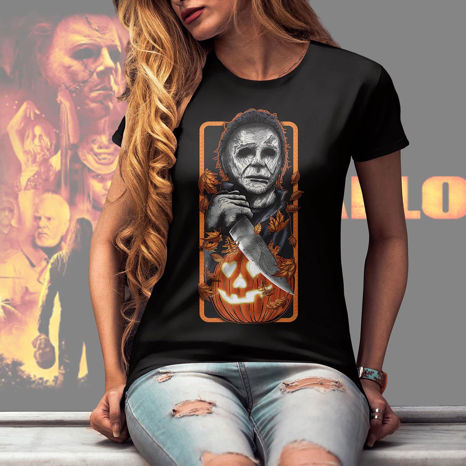 Camiseta Feminina Unissex Michael Myers Halloween Abóbora Terror Horror Serial Killer (Preta) - EV