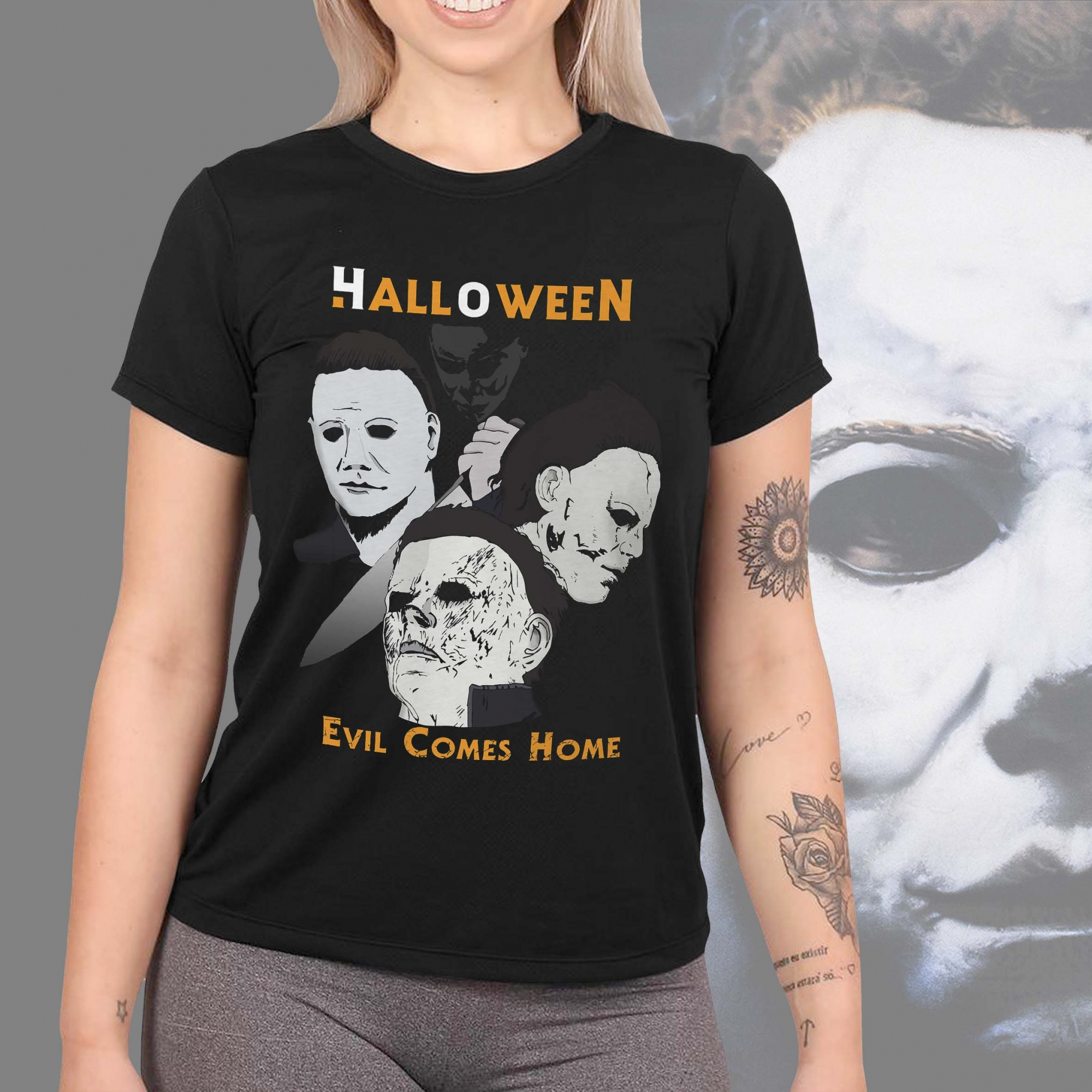Camiseta Feminina Unissex Michael Myers Halloween Evil Comes Home Terror Horror (Preta) - EV