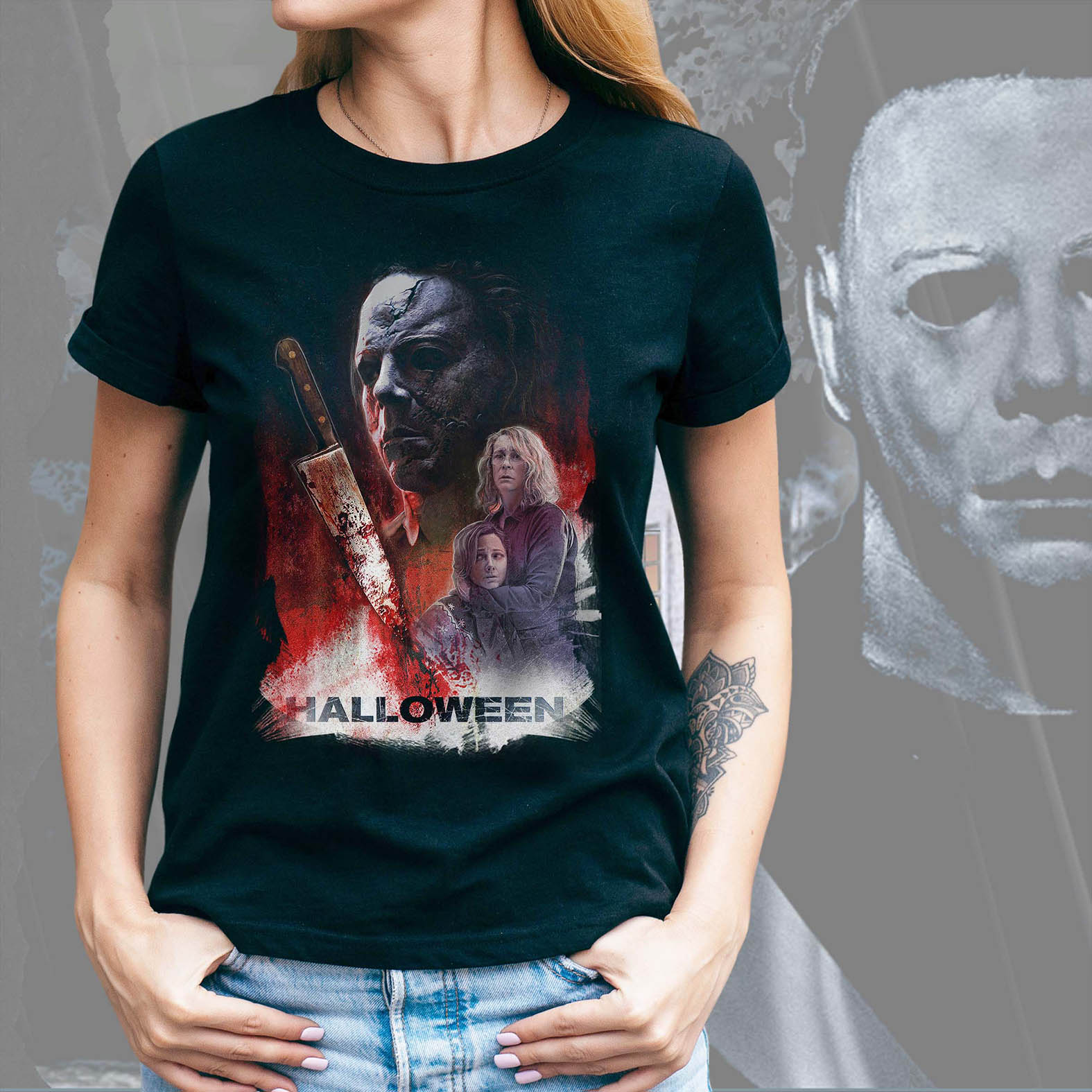 Camiseta Feminina Unissex Michael Myers Halloween Terror Horror Serial Killer (Preta) - EV