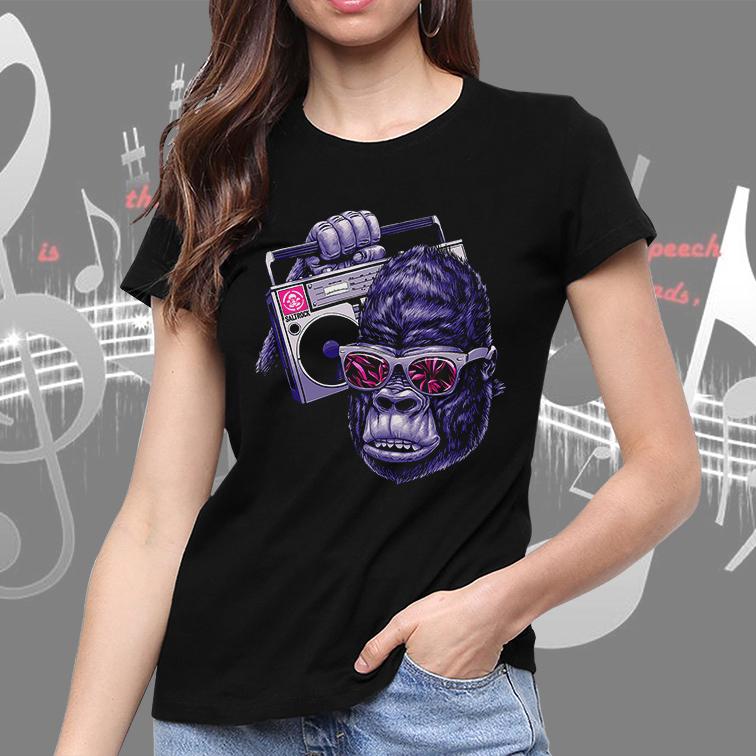 Camiseta Feminina Unissex Monkey Cartoon Rock Music Macaco Rádio Música (Preta) - EV