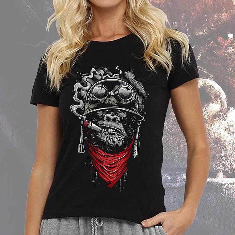 Camiseta Feminina Unissex Monkey Smoke Style Helmet (Preta) - EV