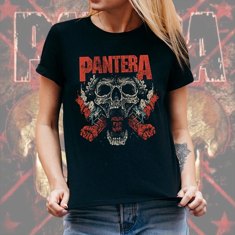 Camiseta Feminina Unissex Mouth For War Rock And Roll: Pantera (Preta) - EV