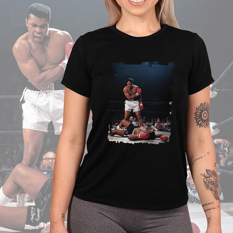 Camiseta Feminina Unissex Muhammad Ali Vs Sonny Liston World Champion (Preta) - EV