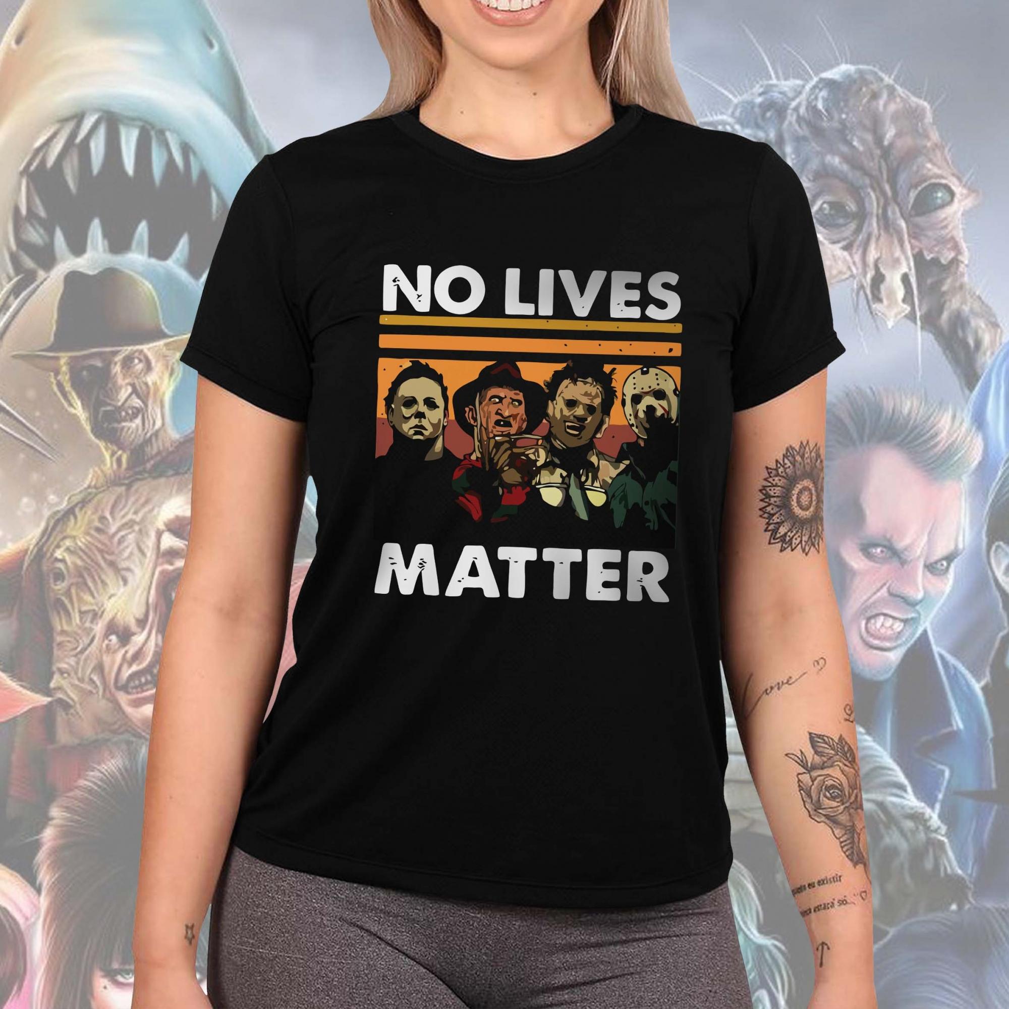 Camiseta Feminina Unissex No Lives Matter Horror Michael Myers Freddy Krueger Leatherface Jason Voorhees Halloween (Preta) - EV