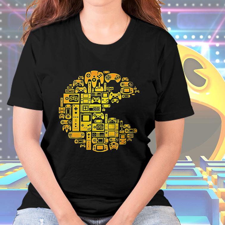 Camiseta Feminina Unissex Pacman Gamer Retro Arcade (Preta) - EV