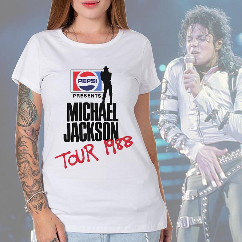 Camiseta Feminina Unissex Pepsi Presents Michael Jackson Tour 1988 (Branca) - EV