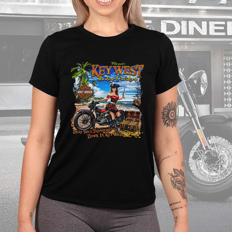 Camiseta Feminina Unissex Peterson's Key West Florida: Harley Davidson Cycles (Preta) - EV