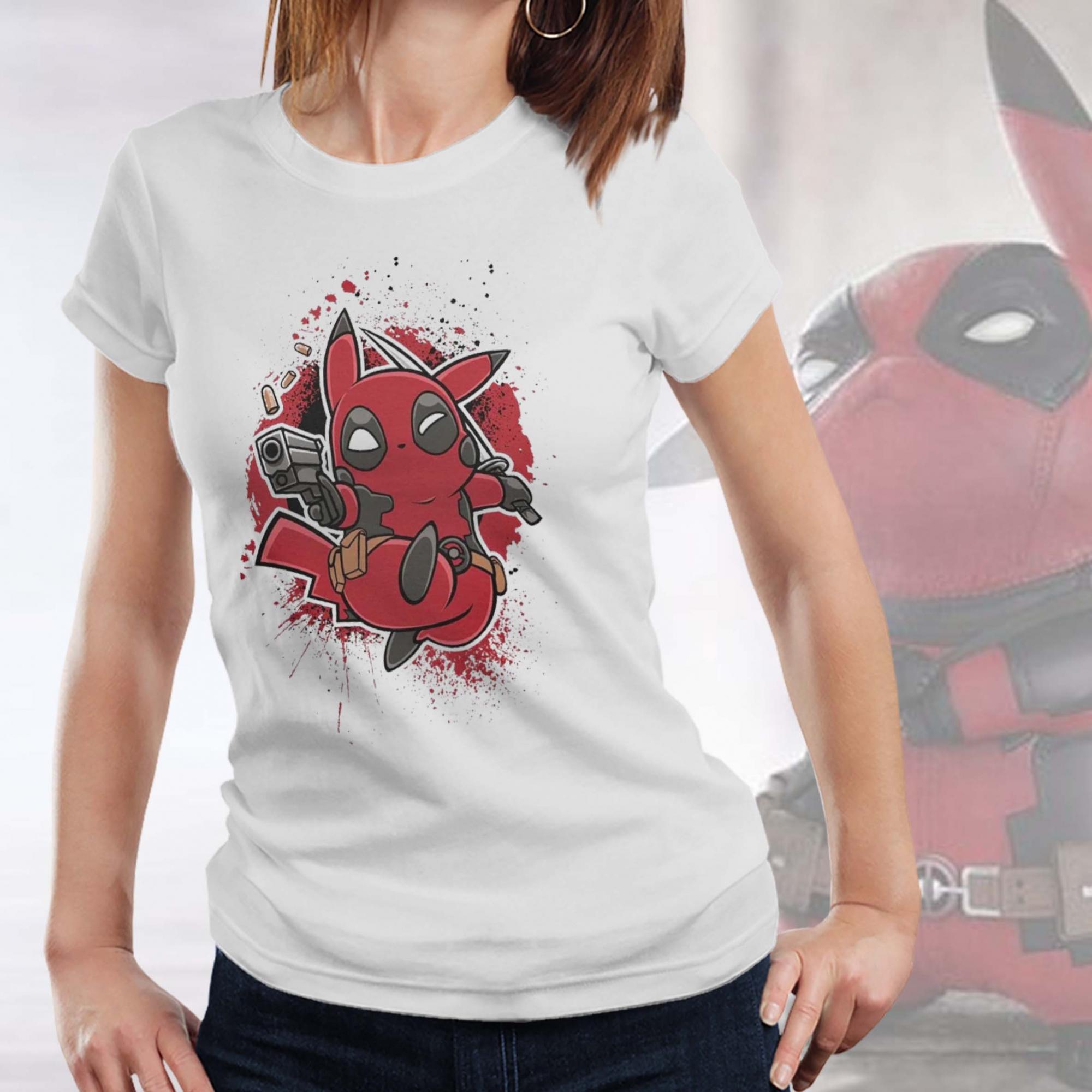 Camiseta Feminina Unissex Pikachu Deadpool - EV