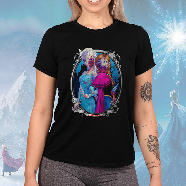 Camiseta Feminina Unissex Princesa Malvada Elsa e Anna Zumbi Frozen Disney (Preta) - EV