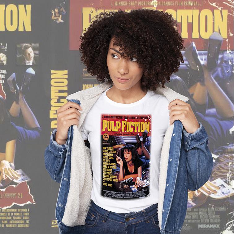 Camiseta Feminina Unissex Pulp Fiction (Branca) - EV