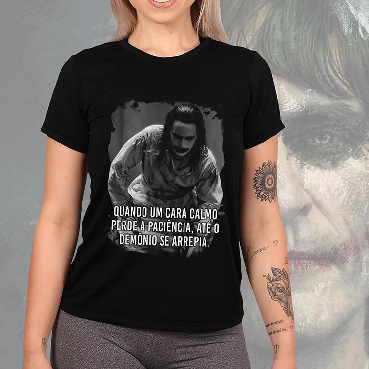 Camiseta Feminina Unissex Quando Um Cara Calmo Perde a Paciência, Até o Demônio Se Arrepia The Joker Jack (Preta) - EV