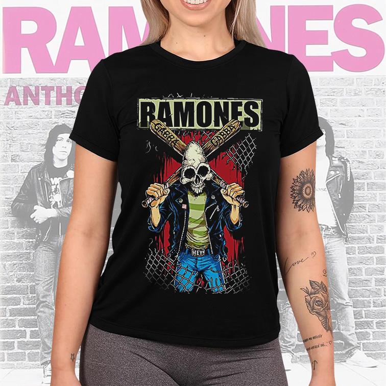 Camiseta Feminina Unissex Ramones Punk Rock Queens (Preta) - EV