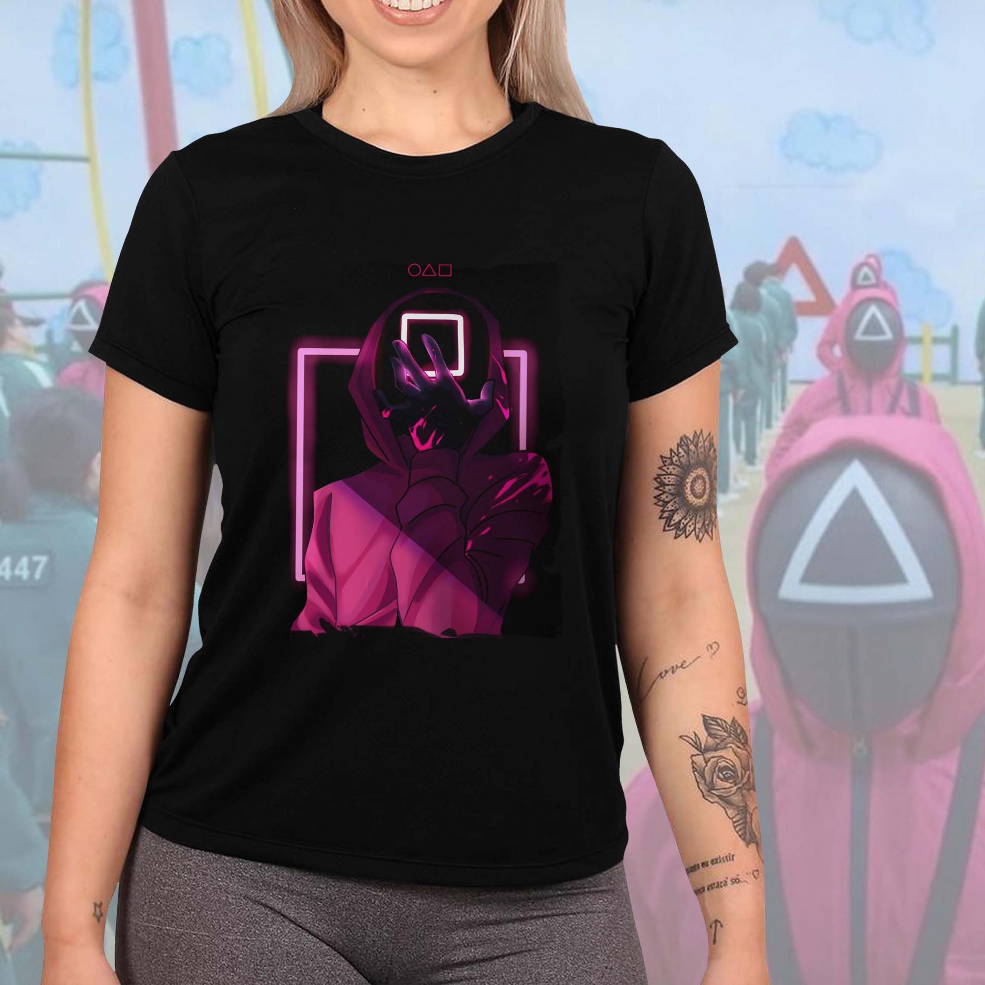 Camiseta Feminina Unissex Round 6 Squid Game Mascara Netflix (Preta) - EV