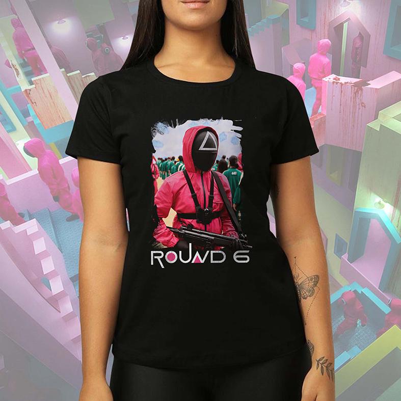 Camiseta Feminina Unissex Round 6 Squid Game Netflix (Preta) - EV