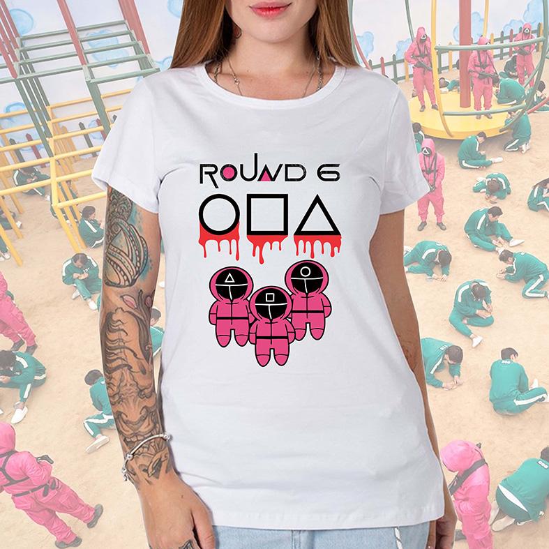 Camiseta Feminina Unissex Round 6 Squid Game Símbolos Jogadores Bola Quadrado Retângulo (Branca) - EV