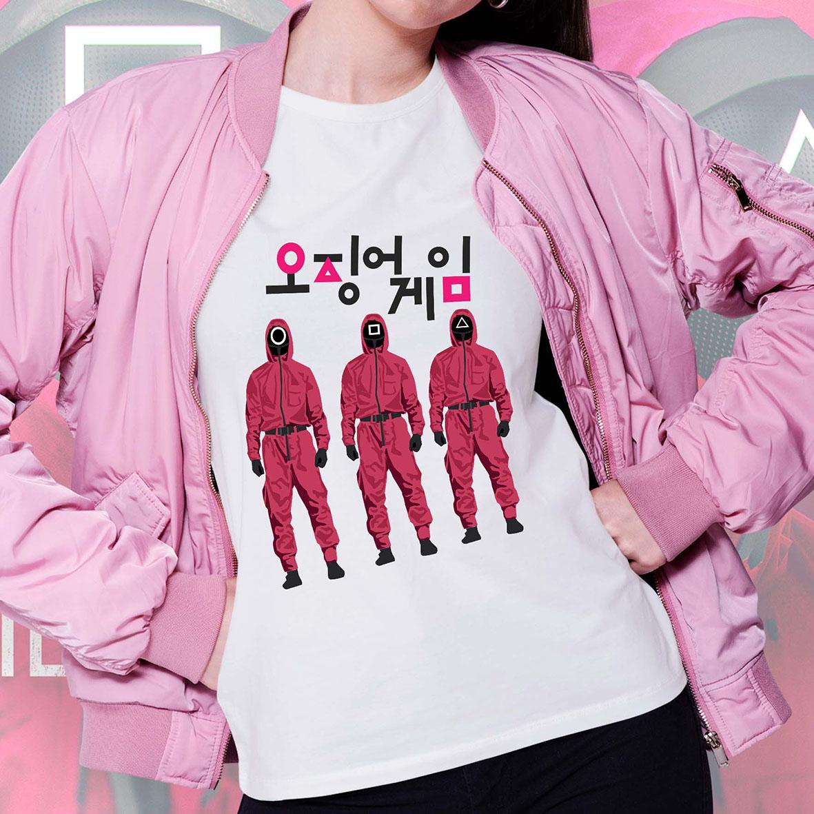 Camiseta Feminina Unissex Round 6 Squid Game Símbolos Jogadores Bola Quadrado Retângulo Logo (Branca) - EV