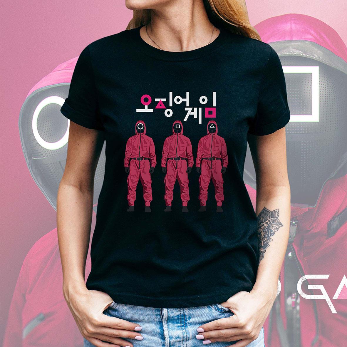 Camiseta Feminina Unissex Round 6 Squid Game Símbolos Jogadores Bola Quadrado Retângulo Logo (Preta) - EV