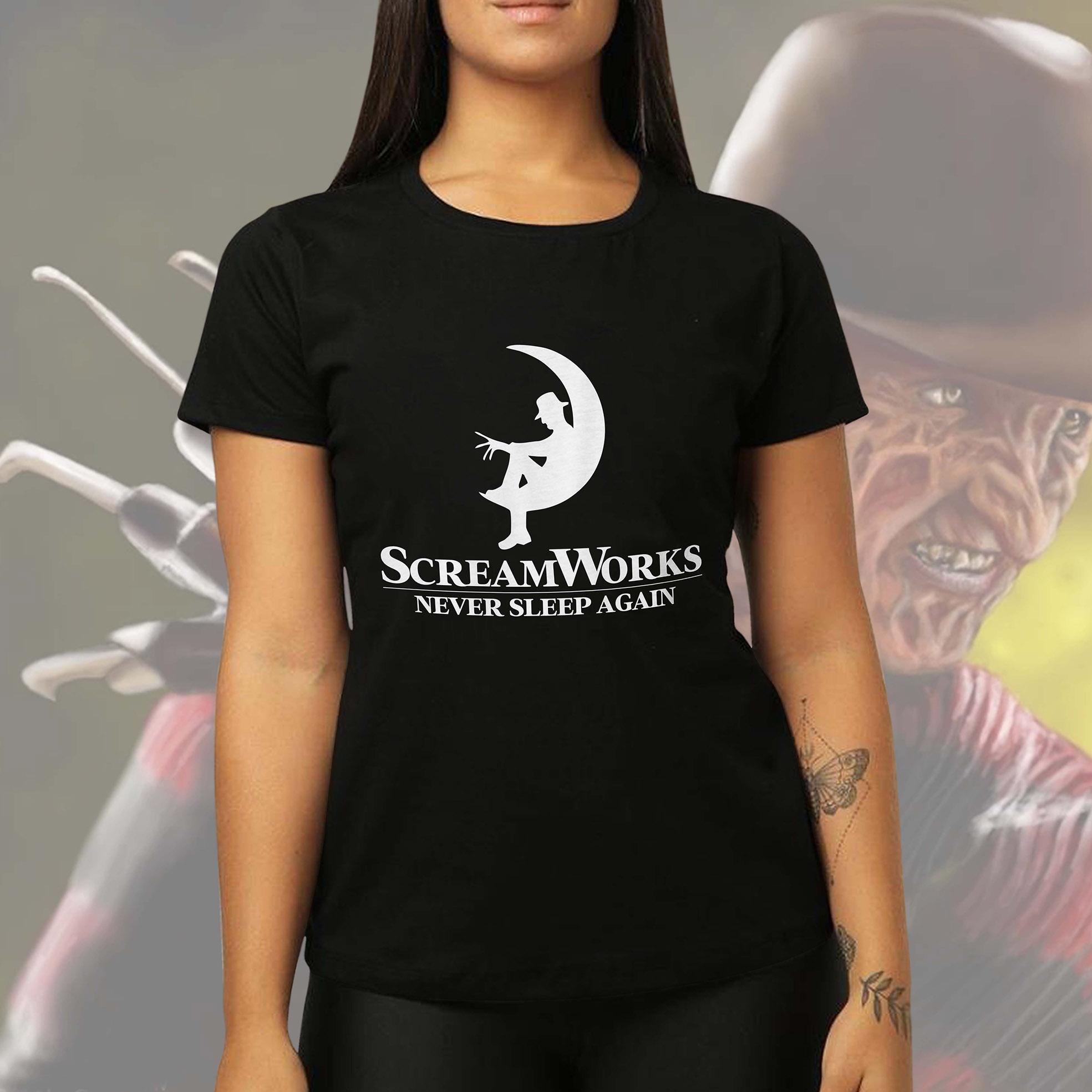 Camiseta Feminina Unissex Screamworks Never Sleep Again Freddy Krueger Terror Halloween (Preta) - EV