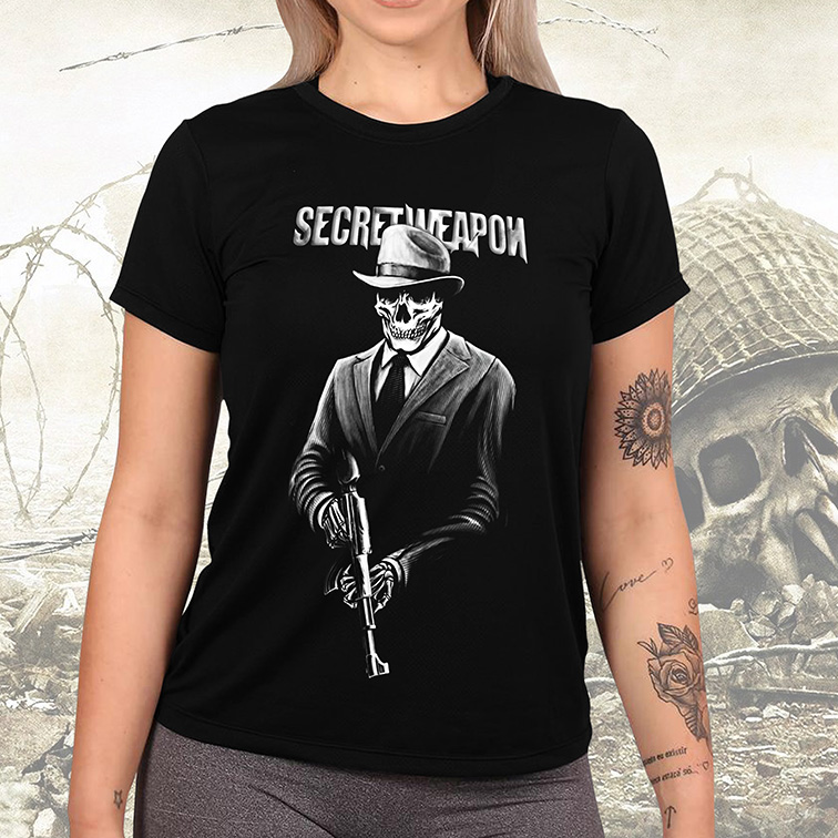 Camiseta Feminina Unissex Secret Weapon Skull Army (Preta) - EV
