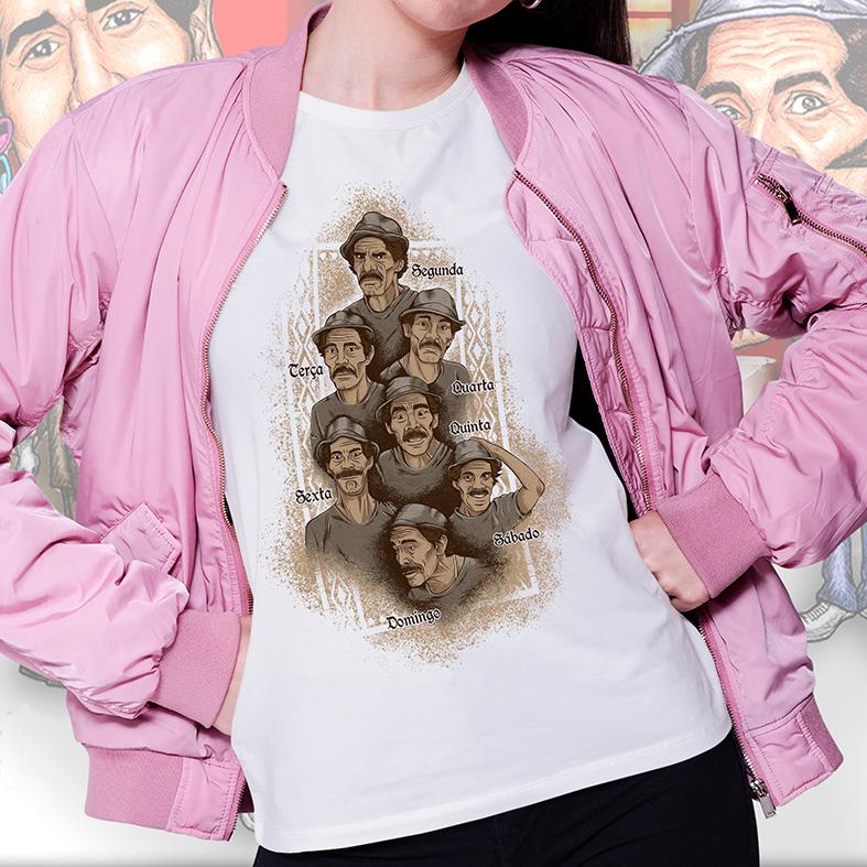 Camiseta Feminina Unissex Seu Madruga Humor Dias Da Semana Ramón Valdés Chaves (Branca) - EV