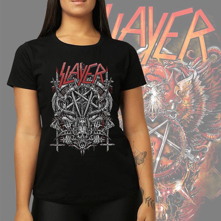 Camiseta Feminina Unissex Slayer Metal Bands Skull (Preta) - EV