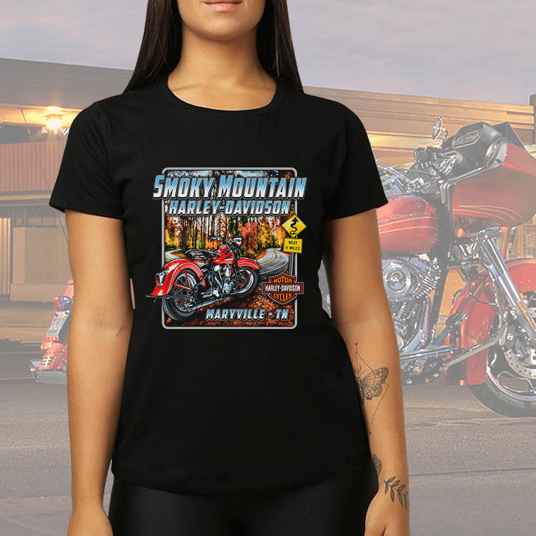 Camiseta Feminina Unissex Smoky Mountain Maryville TN: Harley Davidson Cycles (Preta) - EV