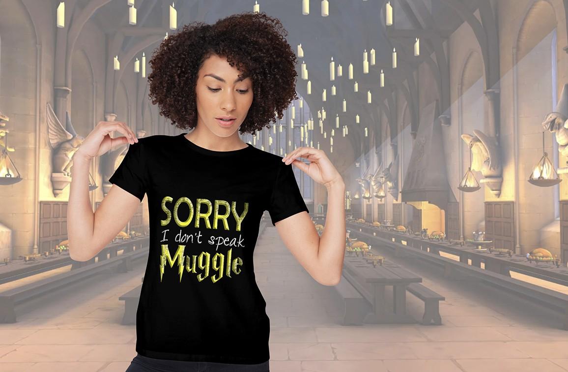 Camiseta Feminina Unissex Sorry i Don't Speak Muggle: Harry Potter (Preta) - EV