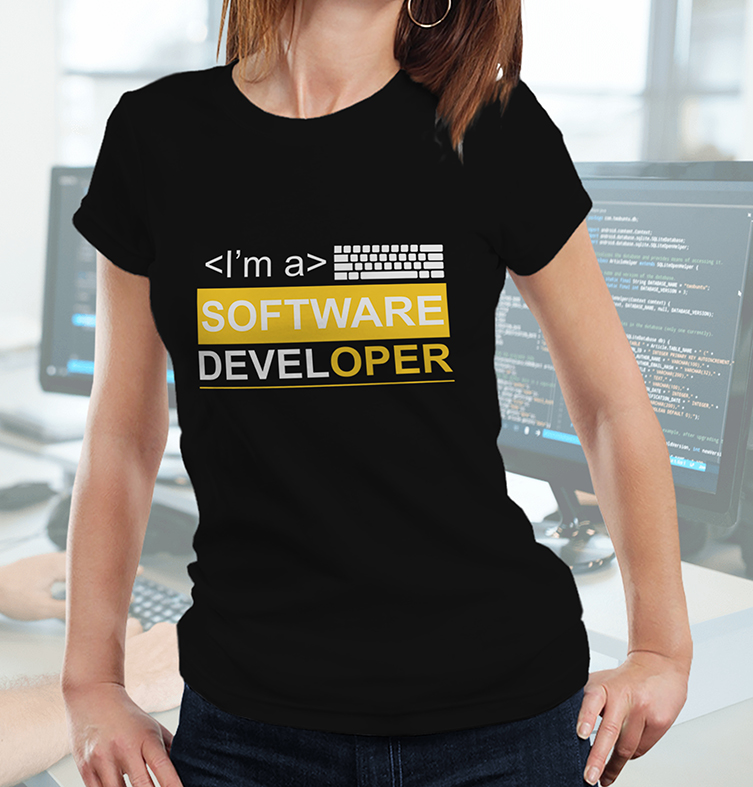 Camiseta Feminina Unissex Sou Um Desenvolvedor De Software I'm A Software Developer Dev (Preta) - EV