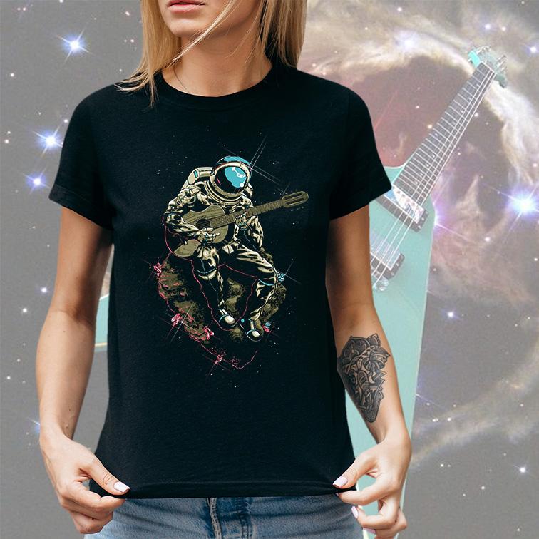 Camiseta Feminina Unissex Space Nasa Guitar Music Song Astronauts Astronauta (Preta) - EV