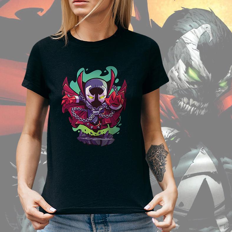 Camiseta Feminina Unissex Spawn O Soldado Do Inferno Animação Cartoon (Preta) - EV