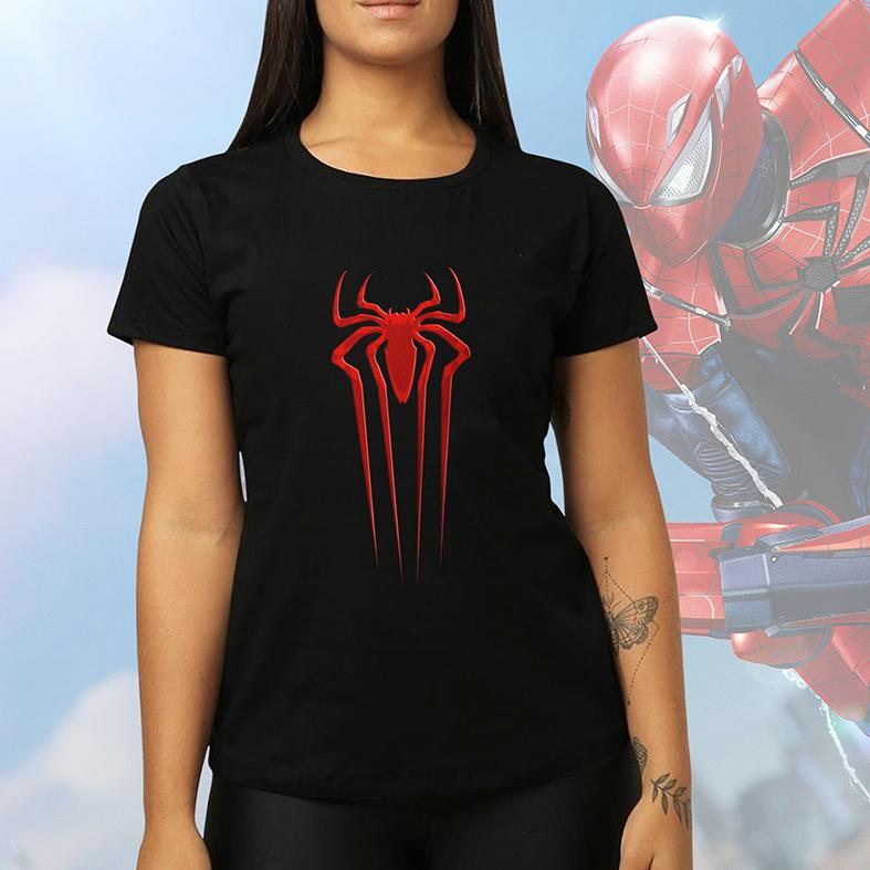 Camiseta Feminina Unissex Spider Man Logo Homem Aranha Marvel (Preta) - EV