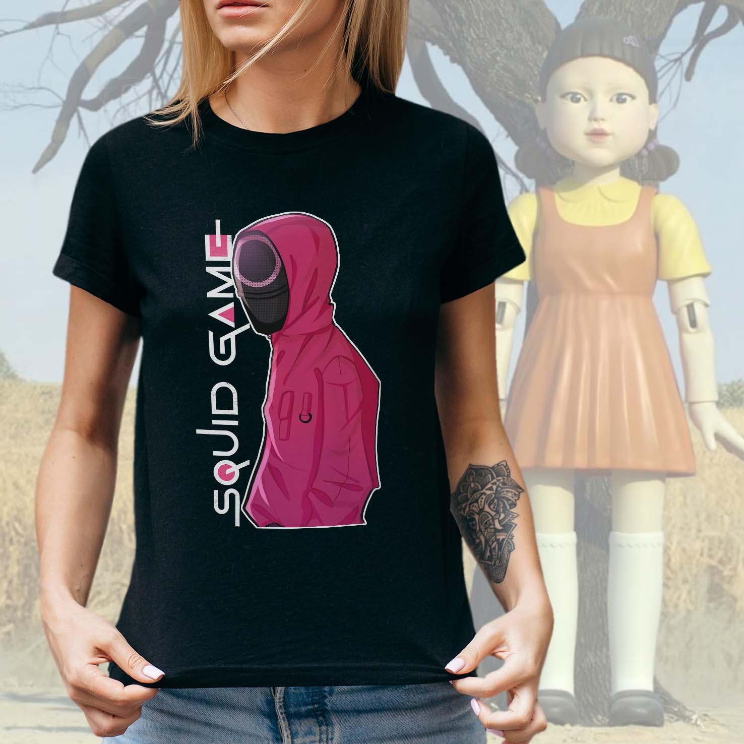 Camiseta Feminina Unissex Squid Game Round 6 Netflix (Preta) - EV