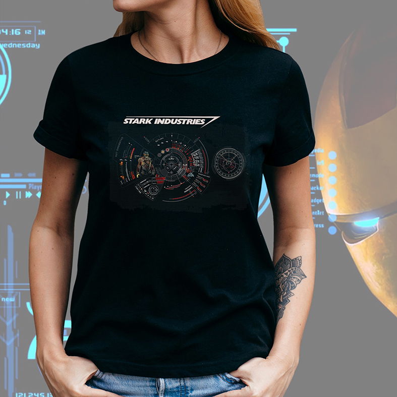 Camiseta Feminina Unissex Stark Industries Project Iron Man Tony Stark Indústrias Homem De Ferro (Preta) - EV