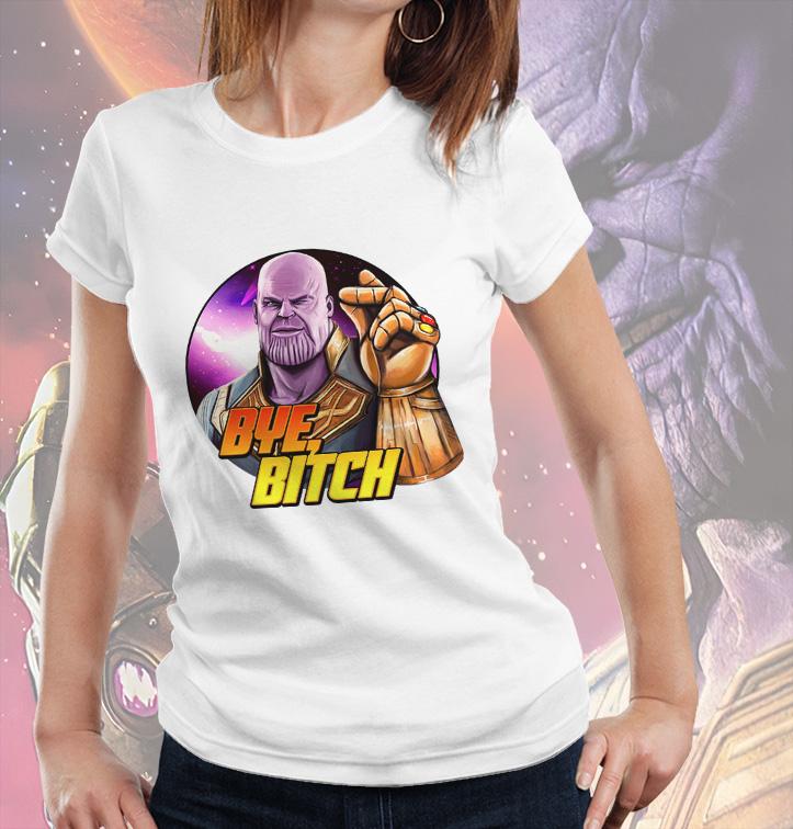 Camiseta Feminina Unissex Supervillain Thanos Bye Bitch Marvel Comics (Branca) - EV