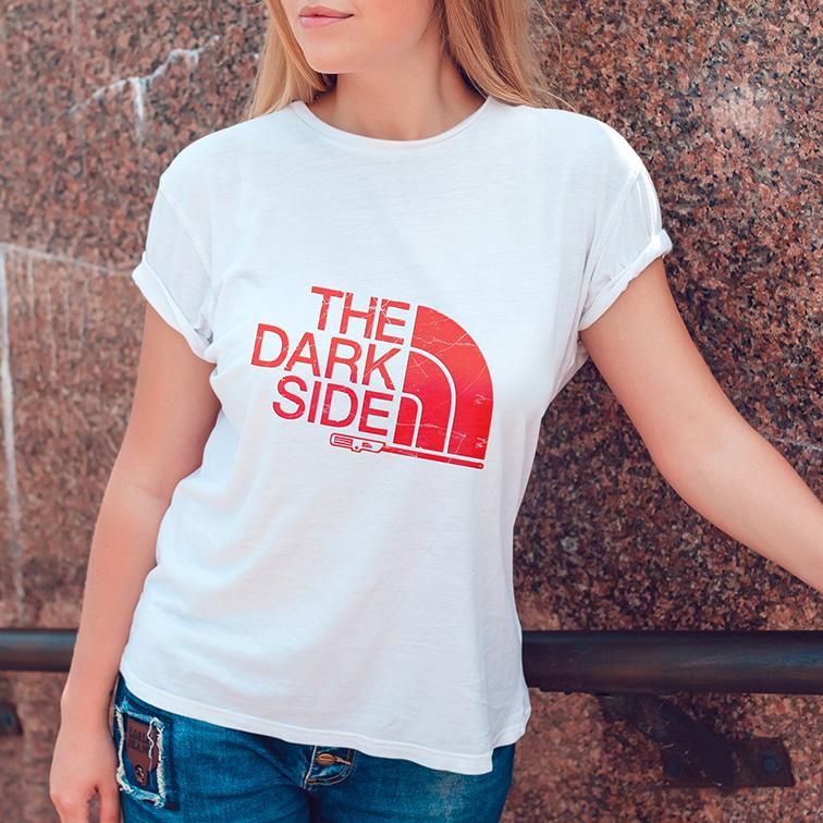 Camiseta Feminina Unissex The Dark Side Vinyl (Branca) - EV