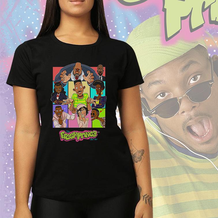 Camiseta Feminina Unissex The Fresh Prince Of Bel Air Drawings Um Maluco No Pedaço (Preta) - EV