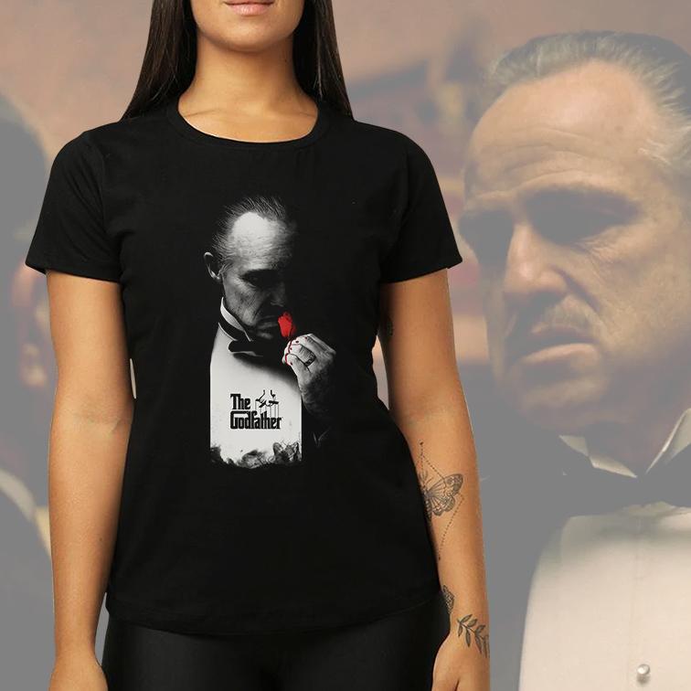 Camiseta Feminina Unissex The Godfather Don Corleone Flower Red Blood: O Poderoso Chefão (Preta) - EV