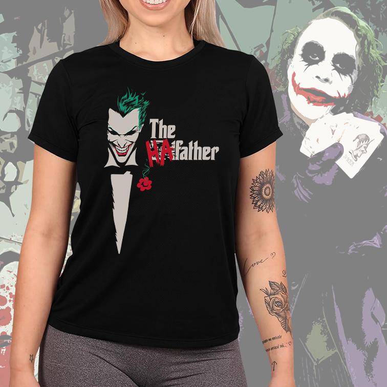 Camiseta Feminina Unissex The HaFather Joker Coringa The Godfather (Preta) - EV