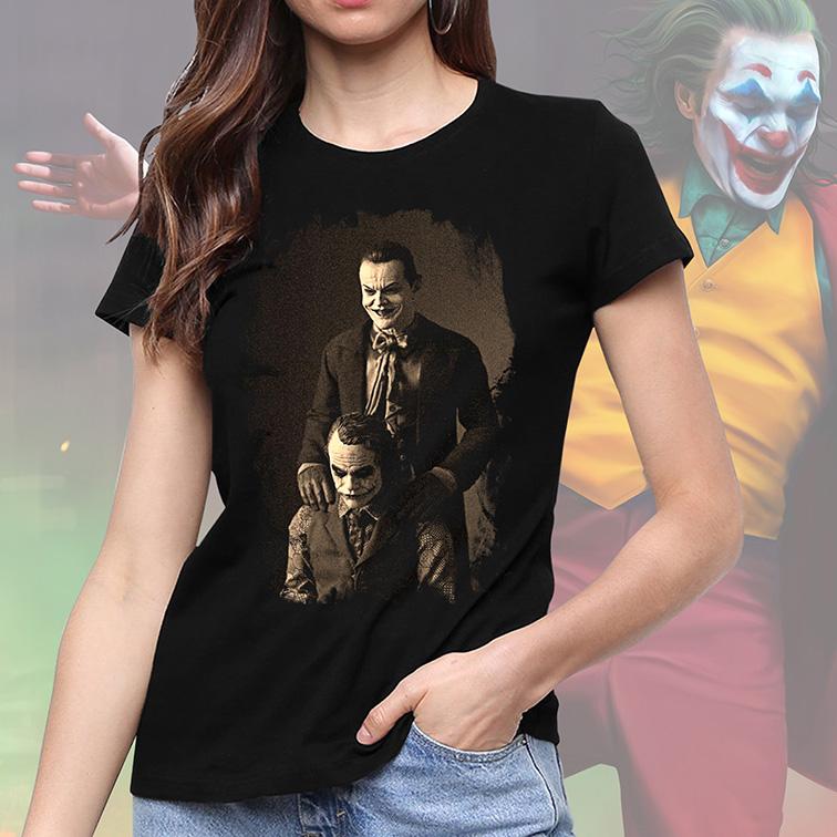 Camiseta Feminina Unissex The Joker Like Father Like Son Jack Nicholson's: Coringa (Preta) - EV